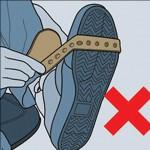 A tira não pode ser encaixada na área mais larga do calçado. Alto risco de perda do seu Motopé.